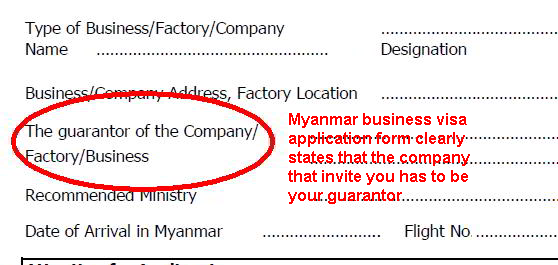 Business visa visa on arrival consult myanmar you need to provide a guarantor from a local myanmar registered company that is inviting you stopboris