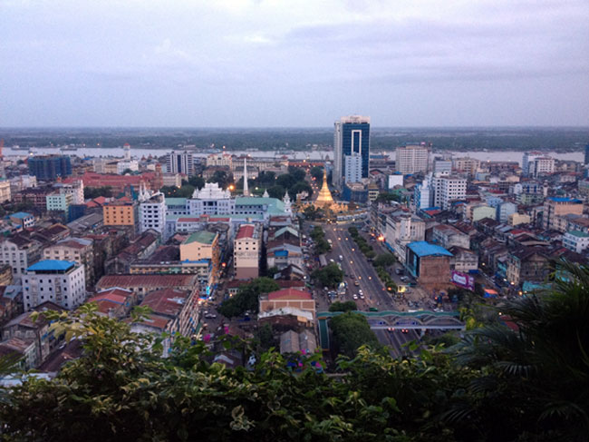 Sule Pagoda in downtown CBD area- new high-rise buildings are not allowed around it.