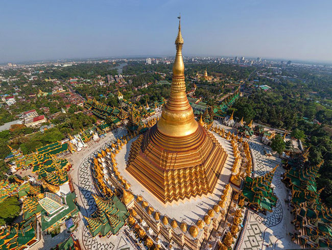 Shwedagon Pagoda is the defining landmark in the City Center – no high-rise is allowed within a 1.6 km radius