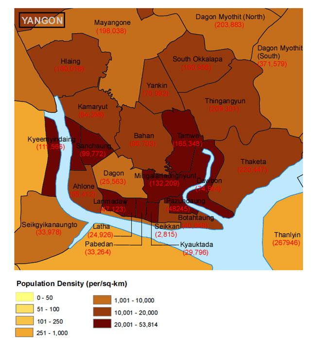 Population Density is the highest in the central and southern part of Yangon