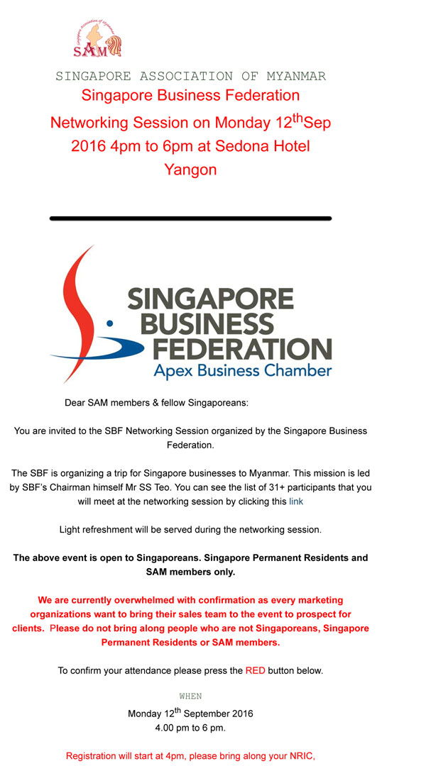 Singapore Business Federation Networking Session